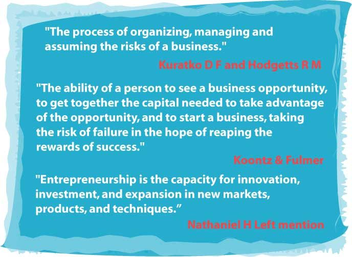 the definitions of an entrepreneur from various authors In a recent blog post proposing a definition of innovation, i noted that innovation means different things to different people it ultimately is what you think it is.
