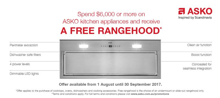 Receive a FREE Concealed or Slide-Out ASKO Rangehood with your ASKO Cooking Appliance Package when you spent $6,000*  Free rangehood of choice is strictly limited to the concealed and slide-out rangehoods listed below:  CC4525S, CC4727S, CC4927S, CC41227S, CCO4627S, CO4927S and CO4920