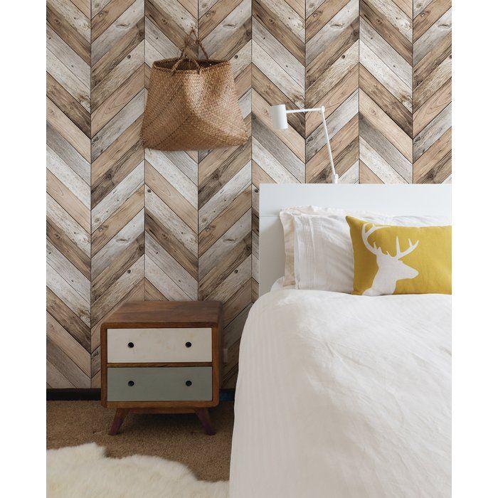 Ansel Chevron 4 L X 24 W Peel And Stick Wallpaper Roll Joss Main Wood Wall Design Wood Plank Walls Stick On Wood Wall