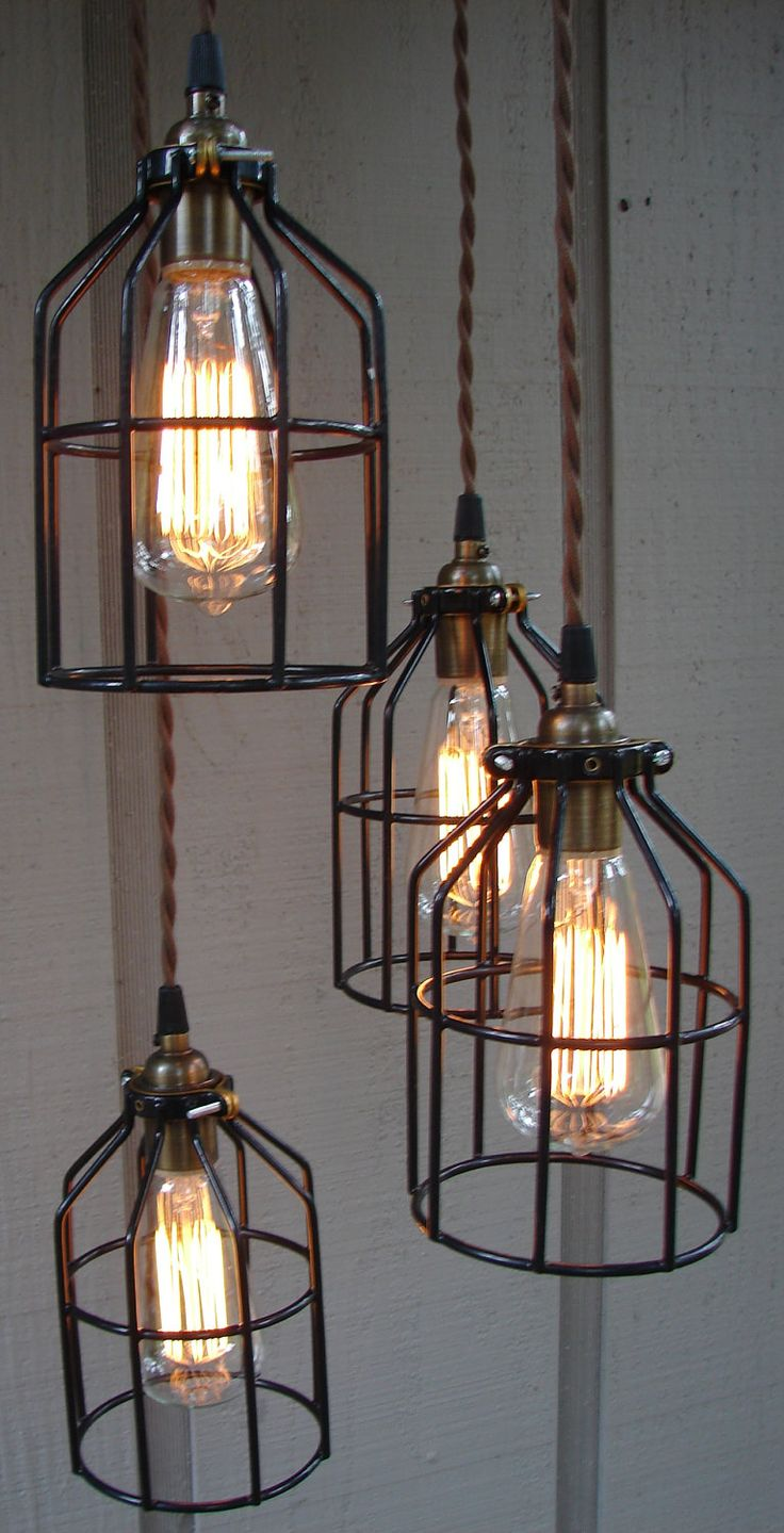 Upcycled industrial edison bulb cage hanging pendant light for Hang photos from wire