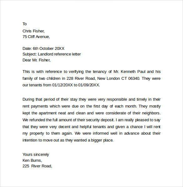 Tenant Reference Letter Sample Elegant Landlord Reference Letter