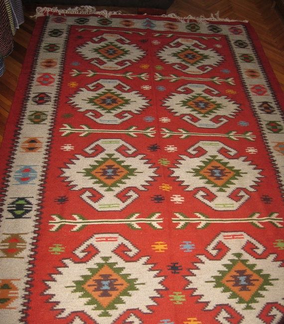 Gorgeous old hand woven Romanian traditional rug by RealRomania