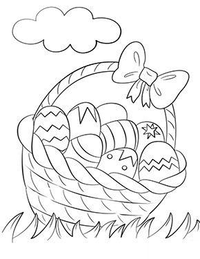 ausmalbild osterkorb mit eiern zum ausmalen. ausmalbilder | malvorlagen | ostern | osterha