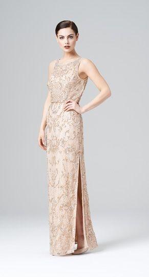 Aidan Mattox beaded gown, blush, Fall 2014
