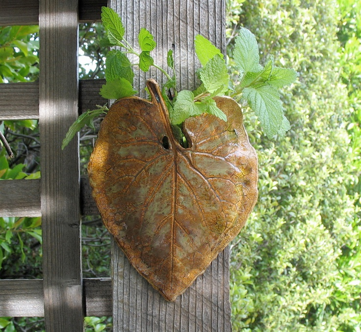 Clay Leaf Wall Pocket Made with Real ForgetMeNot by SallysClay. $15.00, via Etsy.