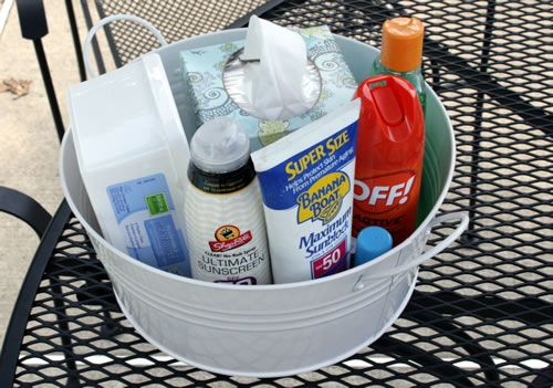 A staple at  my summer parties. Everyone forgets #sunscreen #bugspray #summerparty