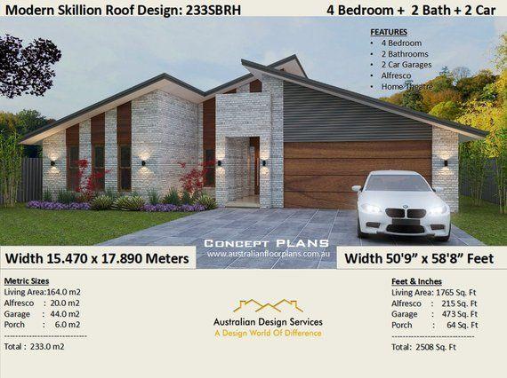 House Plan 233sbrh 2508 Sq Foot 233 M2 4 Bedroom House Etsy Bedroom House Plans 4 Bedroom House Plans Australian House Plans