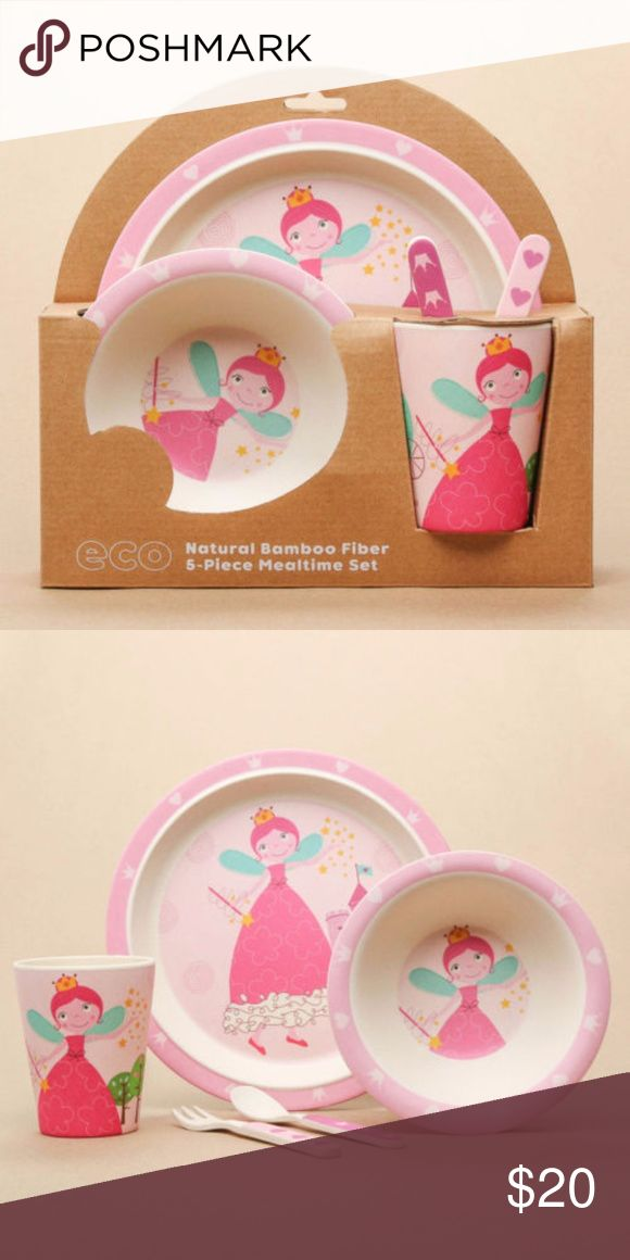 "Bamboo Meal Set Fairy Princess Pink 5 PC 5-piece set includes plate, bowl, cup, fork, and spoon Made of eco-friendly, 100% biodegradable natural bamboo fiber Safe for dishwasher, not for microwave Plate: 8.25"" D x 0.75"" H Bowl: 6"" D x 1.5"" H Cup: 3"" D x 3.75"" H Fork and spoon: 5.25"" L Hollar Kids Other"