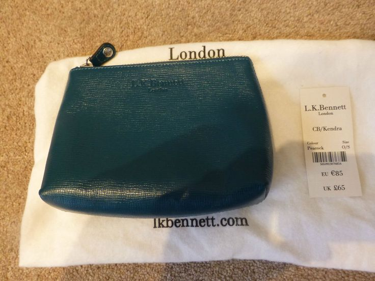 BNWT LK BENNETT Teal Peacock CB/Kendra Clutch Bag Cosmetic Make-Up Bag Purse