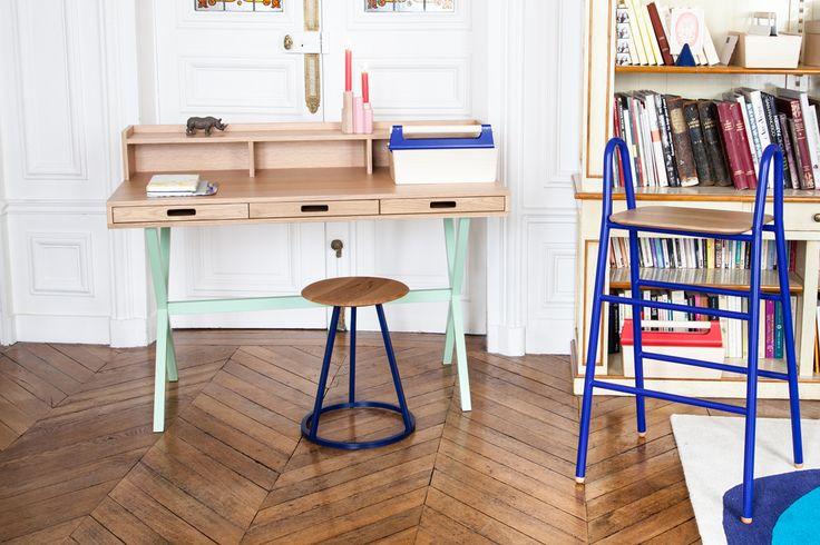 Home office by Hartô  desk Hyppolite, stool Gustave, box Louisette, candle holder Jacques...