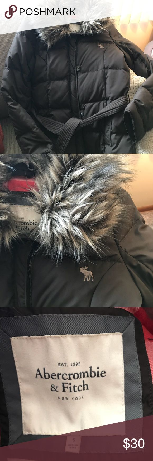 Chocolate brown Abercrombie and Fitch winter coat Brown faux fur color, tie waist winter coat. Abercrombie & Fitch Jackets & Coats Puffers
