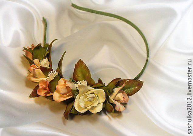 Купить Ободок с розочками - кремовый, ободок для волос, ободок с цветами, ободок для девочки, ободок для девушки