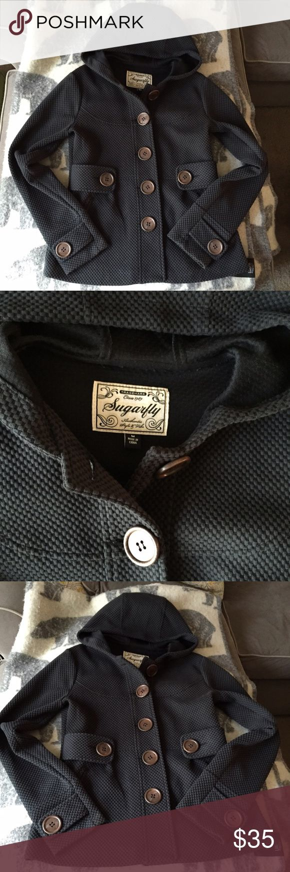 Never Worn Jacket from Sugarfly, size M Perfect condition, slate grey color (almost looks blue) with brown buttons. Never worn outside. Beautiful unique tailored jacket. Sugarfly Jackets & Coats Pea Coats