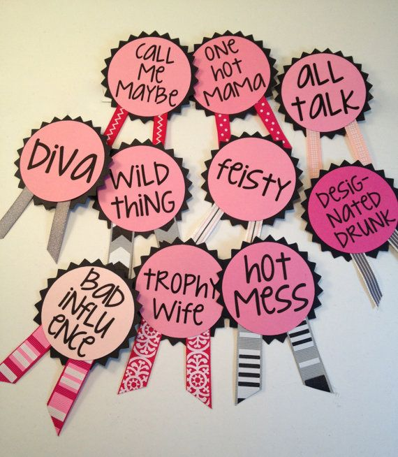 Bachelorette Party Pins Name Tags Sash Decorations Sheldon Reinert