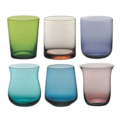 This fabulous collection of different coloured glass tumblers will make a quirky addition to any table!