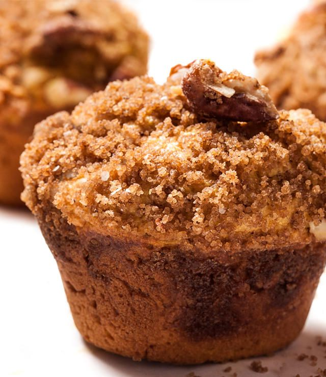A tender pumpkin spice muffin recipe with pecan streusel.