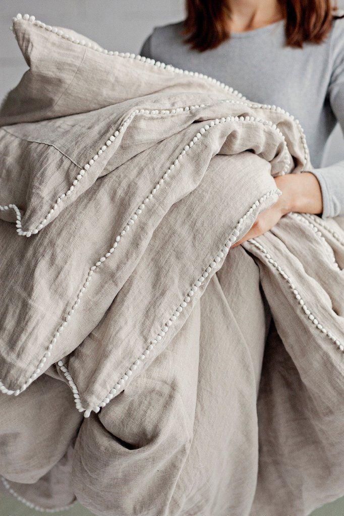 Pom Pom Trim Linen Duvet Cover With Images White Linen Duvet