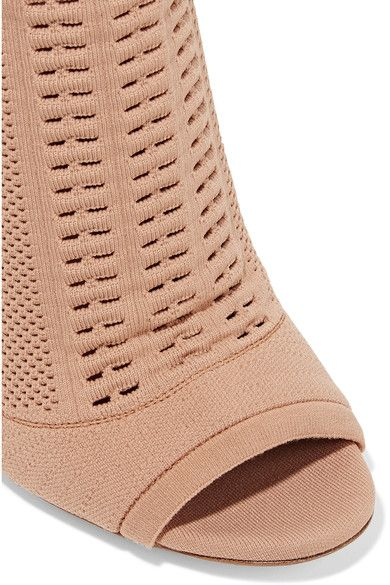 Gianvito Rossi - Vires Peep-toe Perforated Stretch-knit Ankle Boots - Sand - IT37.5