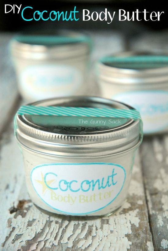 Maybe I can make my own lotion, body wash, lip glos...and then put them in little care packages for all the girls in my family!  Hmmm, the possibilities! DIY Coconut Body Butter