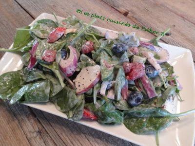 Les plats cuisinés de Esther B: Salade d'épinard et aux petits fruits