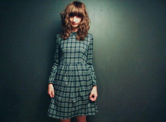 Kariertes Kleid  langarm  Midi Kleid in Plaid  kariertes von OffOn