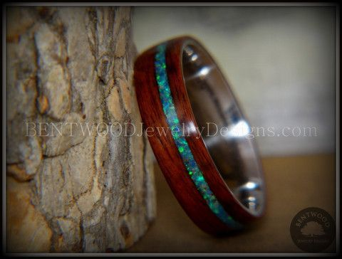Bentwood Rosewood Wood Ring Peacock Opal Inlay Stainless Steel Metal Ring - Bentwood Jewelry Designs - Custom Handcrafted Bentwood Wood Rings