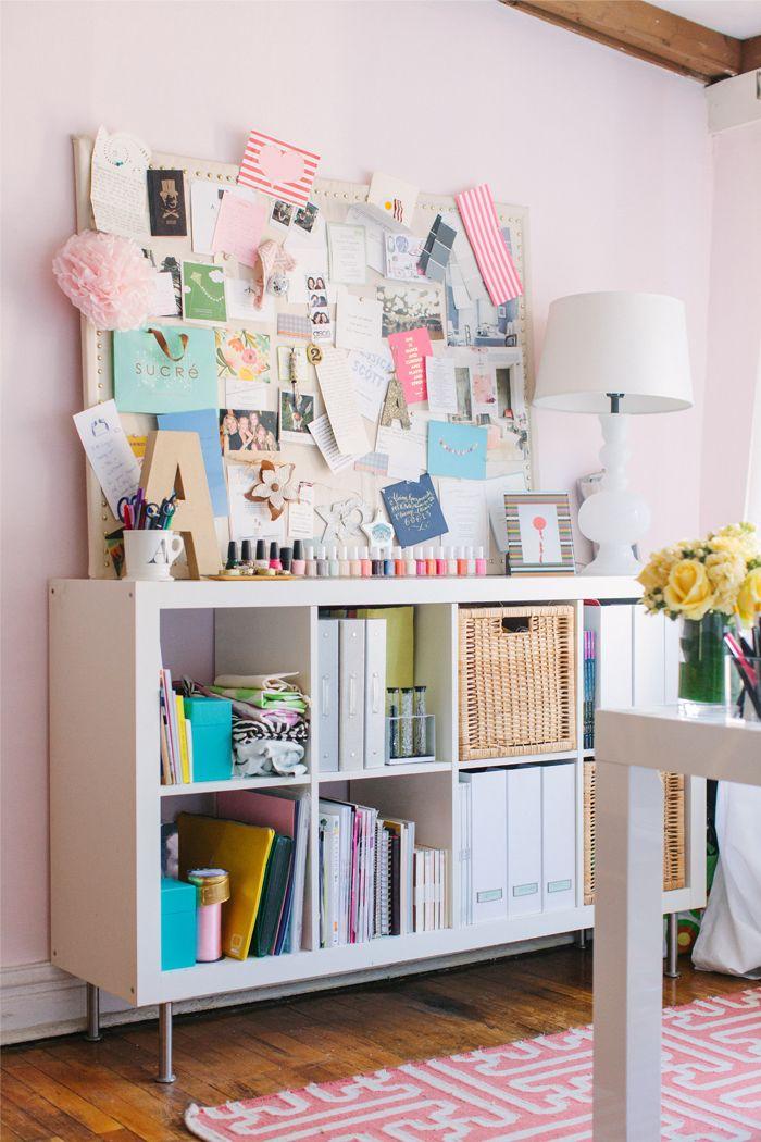 @Alaina Kaczmarski Chicago Apartment Tour // office // white // pink // @Farrow & Ball Middleton Pink paint // @IKEA USA shelving // inspiration board // photography by Stoffer Photography