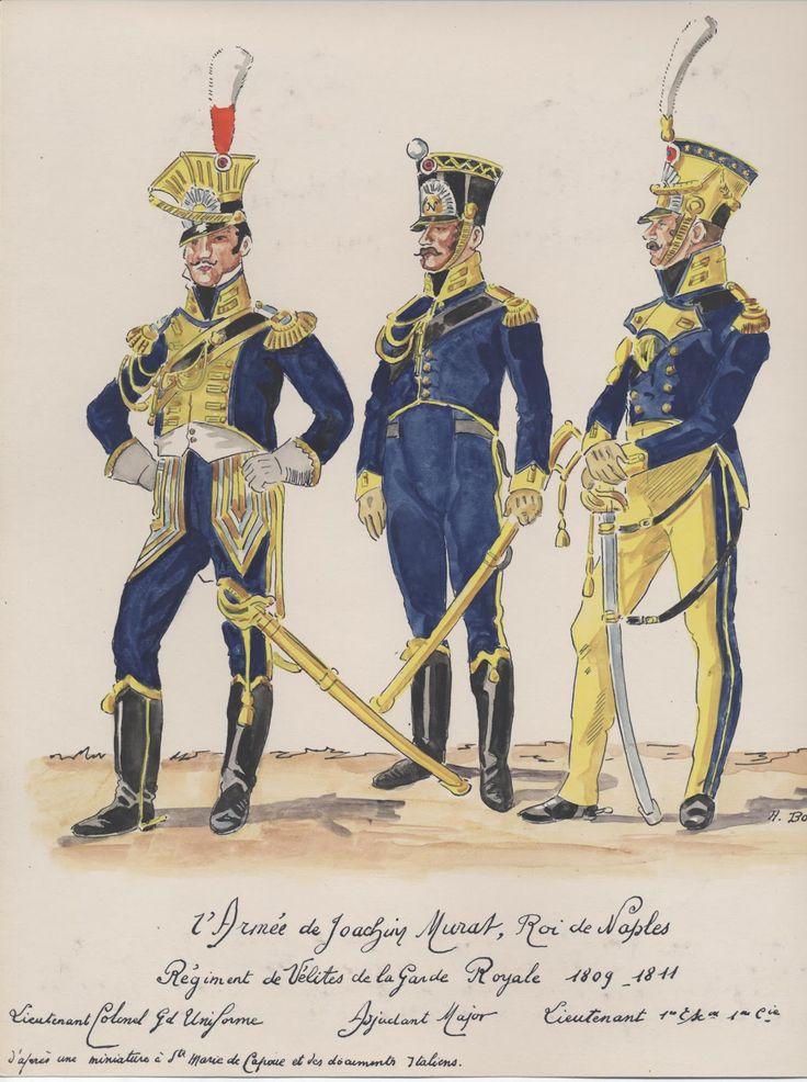 Tenente colonnello, capitano e tenente delle velite della guardia reale di Murat