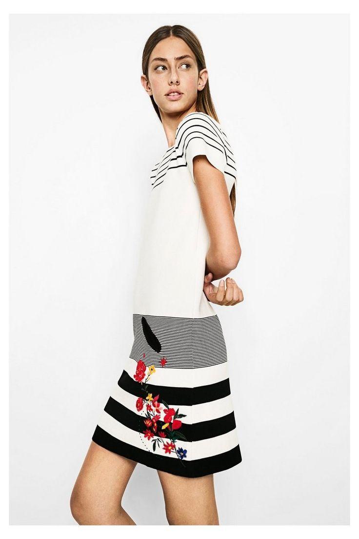 Zwart-witte jurk met bloemen Sarasa   Desigual.com 1000