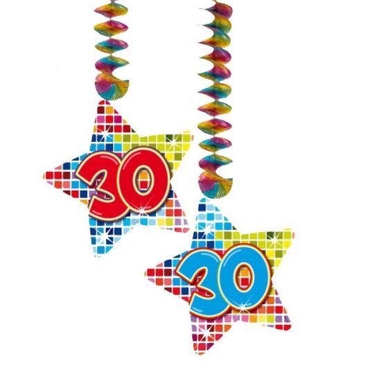 Hangdecoratie sterren 30 jaar. Hangdecoratie in de vorm van sterretjes met het getal 30. De decoratie is verpakt per 2 stuks en is ongeveer 13,3 x 16,5 cm groot.