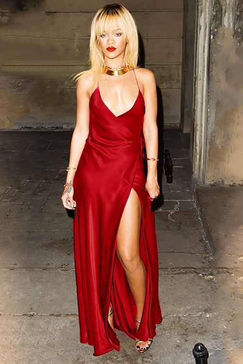 Robyn Rihanna Fenty rockin' a rockin' red silk dress dawning spaghetti straps, a deep plunge, and a high split to show some leg! What u workin' with girl!?!? //Pinned on @benitathediva, DIY Fashion LifeSTYLE Blog