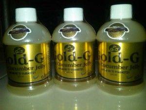 Gold – G Sea Cucumber Jelly  BPOM RI TI 114645721  Kandungan : protein,kolagen,Mukopolisakarida,mineral,asam amino,omega, dll.  khasiat : membangun kekebalan tubuh,memperbaiki sel-sel tubuh yang rusak,mempercepat penyembuhan luka luar maupun dalam,dll.  isi 320ml harga 150rb