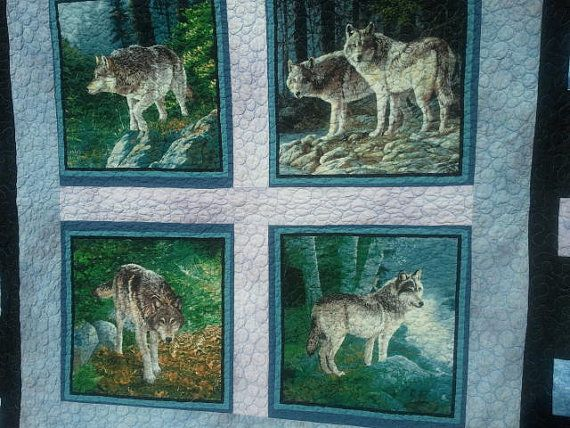 Wolf Quilt Queen Size New Handmade Wolf Quilt Nature And