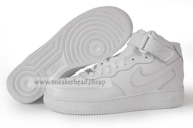 "2007 Cheap Air Force Ones Shoes Nike Air Force 1 High ""All White"" Womens"