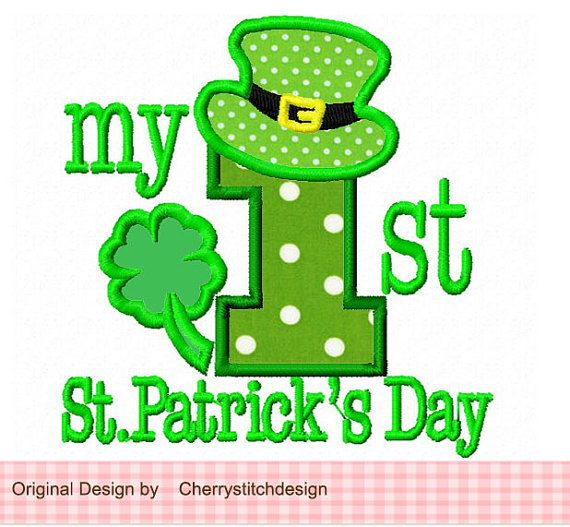 My 1st St Patrick's Day  Applique 4x4 5x7 by CherryStitchDesign, $2.99