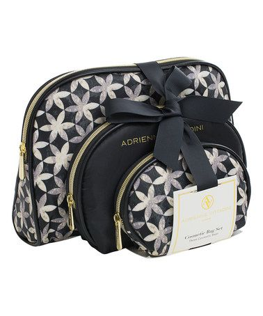 Look at this #zulilyfind! Black & White Floral Curve Cosmetic Bag - Set of Three #zulilyfinds