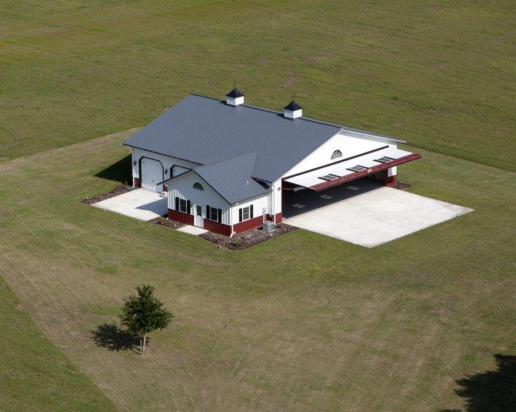 Aerial view of a morton buildings hangar in alachua for Aircraft hangar home designs