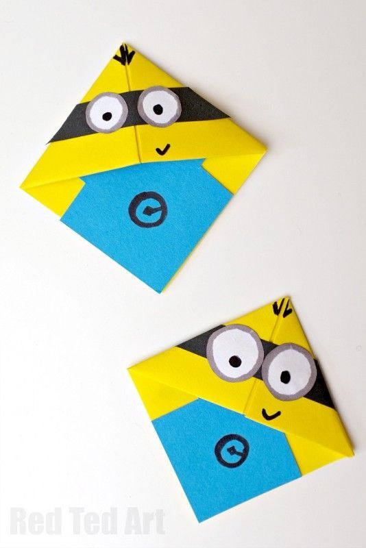 Easy & fun to make Minion Bookmarks - use basic origami skills to learn ow to make these fun minions. We love Minion Corner Bookmark Designs. Just too cute!