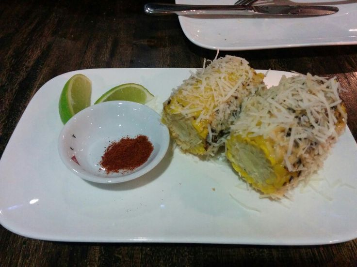 Castro's Crop; Cuban style grilled corn cob w/ chilli mayo, parmesan & lime - A: 3 B: 3