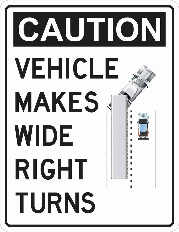 StickerTalk® Brand 8.5in x 11in Vehicle Makes Wide Right Turns Magnet Sign