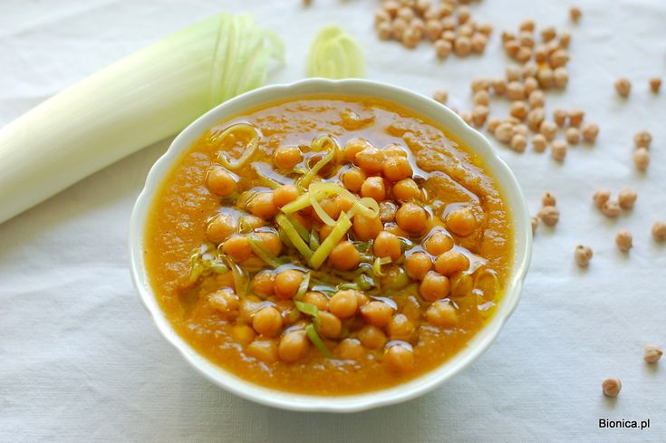 carrot parsnip cream with chickpeas and leek