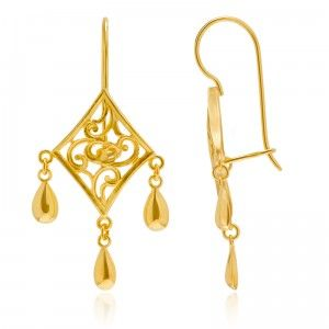 Diamond Charm Asian Earrings - MettaGems | Natural Gemstone Jewelry, Direct from manufacturers  18K Solid Gold