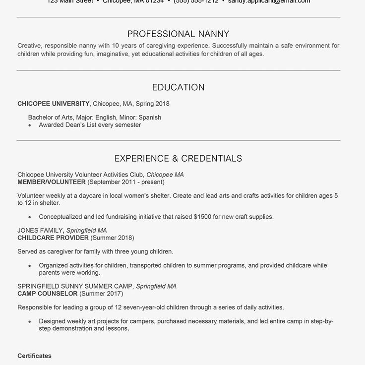 Baby sitter resume sample new nanny resume and cover