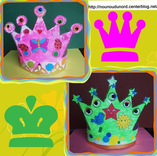 Couronnes des enfants et le goûter la galette, gabarits et d'autres couronnes à imprimer sur mon lien http://nounoudunord.centerblog.net/3797-les-couronnes-des-enfants-et-le-gouter-la-galette