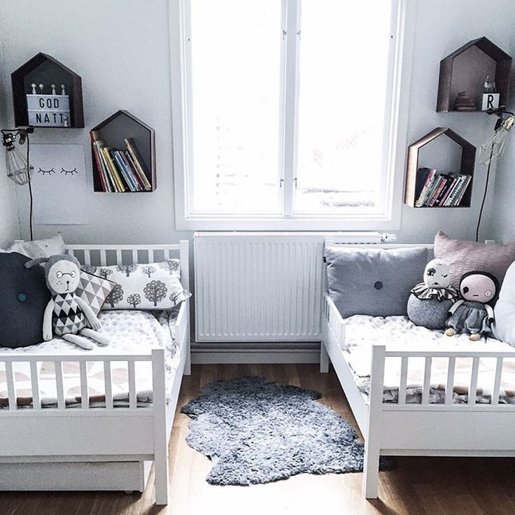 Shared kids room in greys. @littledreambird