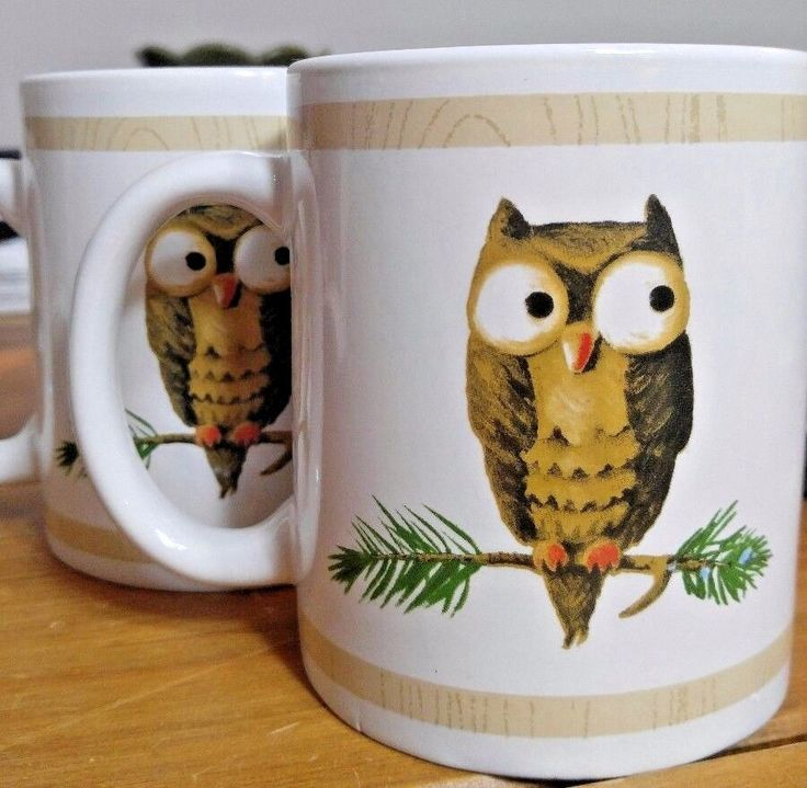 Owl Mug White Set of Two Coffee Tea Beverage Cup New Matching Friends   Home & Garden, Kitchen, Dining & Bar, Dinnerware & Serving Dishes   eBay!