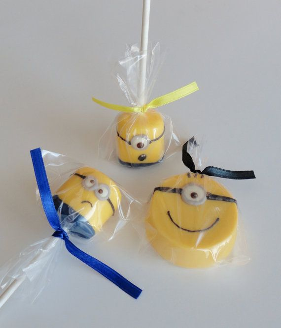 1 DOZEN Chocolate Covered Marshmallowpops - Yellow Monster MINIONS - Childrens Birthday Party, Baby Shower, Valentines Day Party favor GIFT
