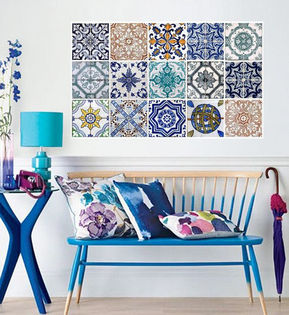 Elaborate Ceramic tiles to decorate walls, love the bright blue ombré bench paint