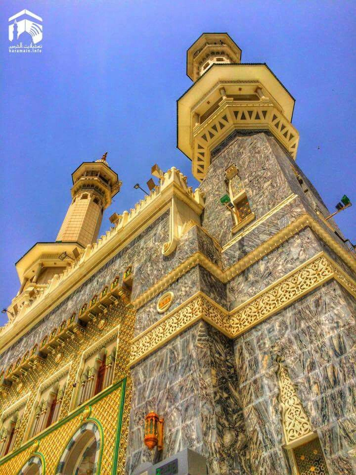 A stunning view of the  minerats at masjid al Haram  # Mecca