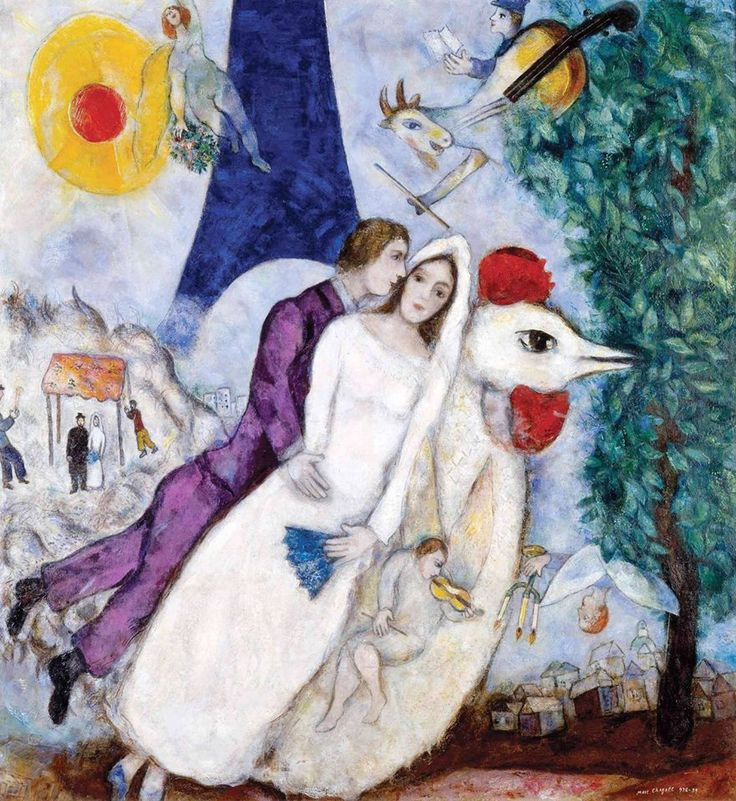 Marc Chagall – Les mariés de la Tour Eiffel, 1938-39 Oil on canvas, 150 x 136,5 cm